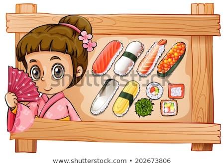 japans · meisje · houten · hut · illustratie · hout - stockfoto © bluering