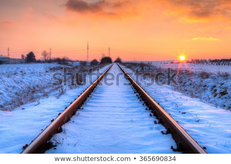 sunset on the abandoned railway tracks   hdr image stock photo © capturelight