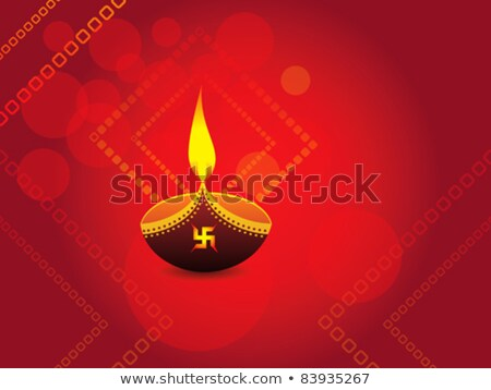 Stok fotoğraf: Diwali Celebration Background With Vector Deepak