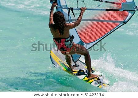 Nő windszörf óceán illusztráció sport háttér Stock fotó © bluering
