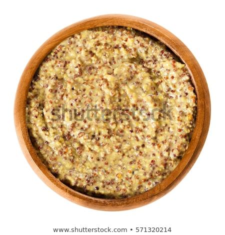 durva · mustár · tál · gabona · fehér · háttér · organikus - stock fotó © digifoodstock