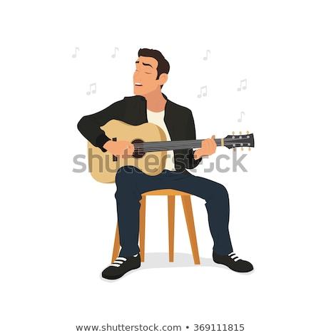Punk férfi gitár izolált fehér zene Stock fotó © leedsn