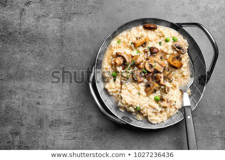 Gomba rizottó kanál asztal olasz konyha étel Stock fotó © user_11224430