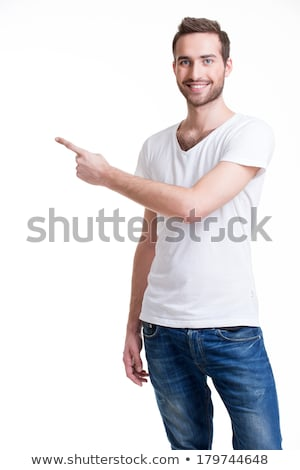 Vertical image of man pointing up Stock photo © deandrobot