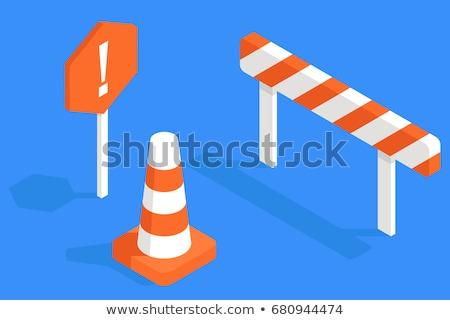 warning   orange cone stock photo © searagen