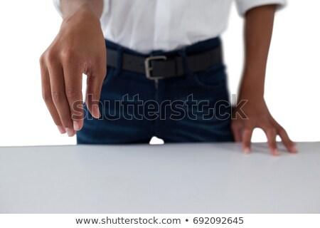 Tizenéves fiú munka láthatatlan tárgy középső rész kommunikáció Stock fotó © wavebreak_media