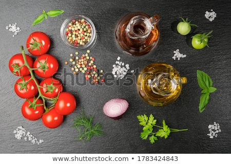 Gałązka pomidorki biały tablicy czerwony herb Zdjęcia stock © Digifoodstock