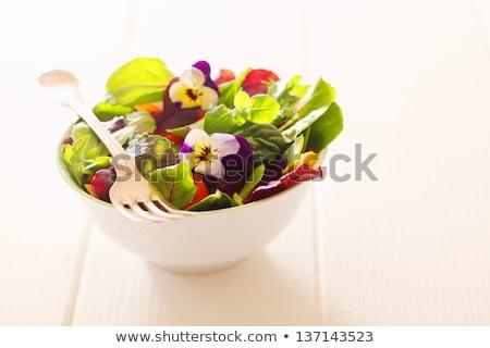salad with nasturtium flowers stock photo © stephaniefrey