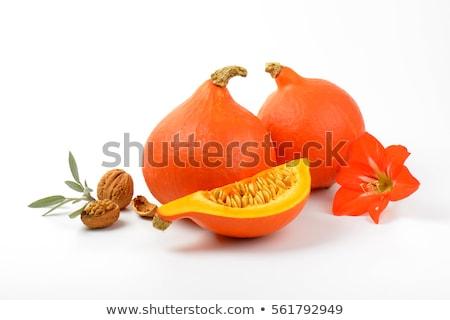 Oranje pompoenen salie witte blad najaar Stockfoto © Digifoodstock