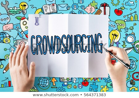 Crowd Funding - Cartoon Blue Text. Business Concept. Stock photo © tashatuvango