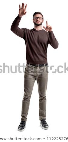 Uomo touch invisibile schermo bianco felice Foto d'archivio © wavebreak_media