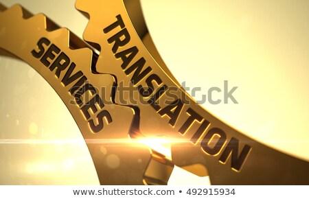 golden gears with translation services concept 3d stock photo © tashatuvango