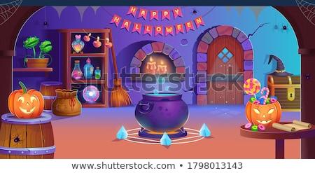 Desenho animado halloween bruxa magia caldeirão festa Foto stock © Krisdog