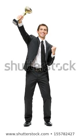 Stockfoto: Jonge · kaukasisch · zakenman · trofee · gouden