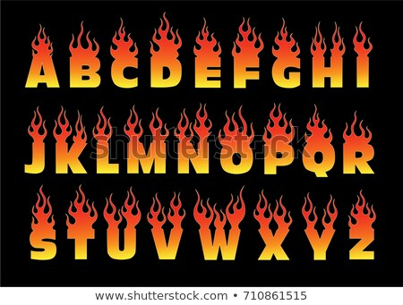Letter A fire. Flames font lettering. Tattoo alphabet character. Stock photo © popaukropa
