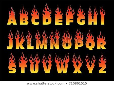 ateşli · w · harfi · mavi · örnek · siyah - stok fotoğraf © popaukropa