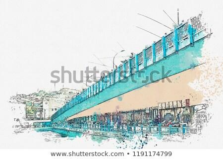 Brug istanbul stad schip gebouw Stockfoto © artjazz