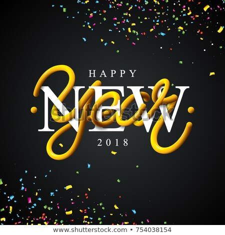 happy new year illustration with intertwined tube typography design and colorful confetti on shiny b stock photo © articular
