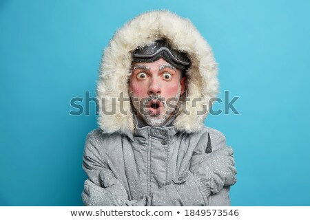Man with Beard Wearing Warm Jacket, Blue Red Hat Stock photo © robuart