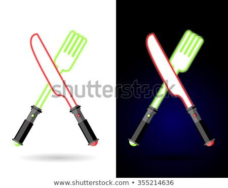 Fourche couteau lumière coutellerie futuriste Photo stock © popaukropa