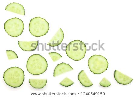 dilimleri · yeşil · salatalık · kaşık - stok fotoğraf © Digifoodstock
