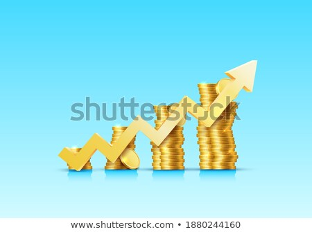 blue arrow with increasing stacked coins stock photo © andreypopov