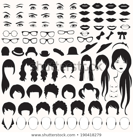 set of female face parts vector illustration stock photo © ussr