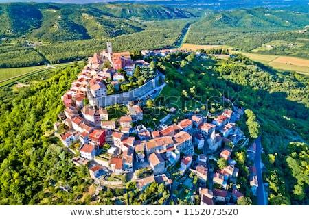Idylliczny Hill miasta widok z lotu ptaka region Chorwacja Zdjęcia stock © xbrchx