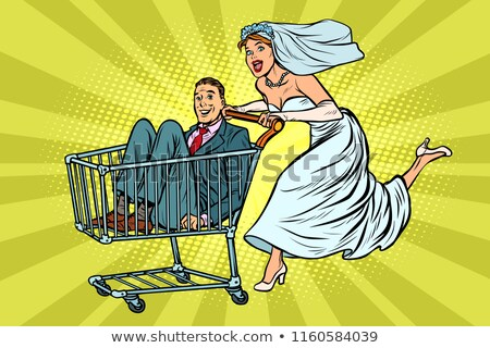 pop art bride and groom in a shopping trolley stock photo © studiostoks
