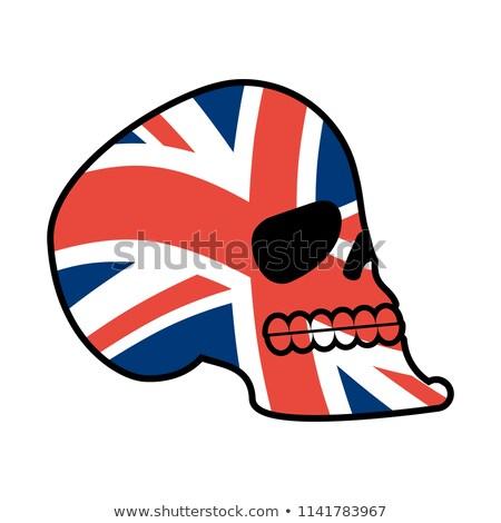 череп голову скелет британский флаг вентилятор эмблема Сток-фото © popaukropa