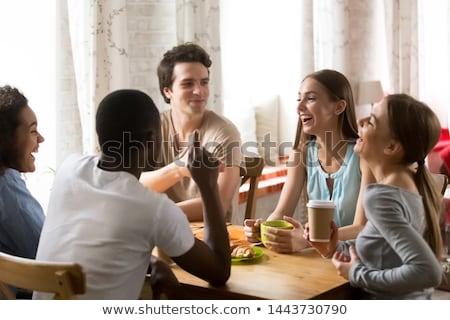 ストックフォト: 興奮した · 座って · カフェ · 表