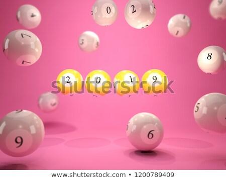 új év felirat lottó golyók rózsaszín 3d illusztráció Stock fotó © MikhailMishchenko