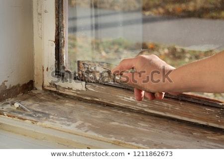 öreg olaj ablak munkás kés szerszám Stock fotó © simazoran