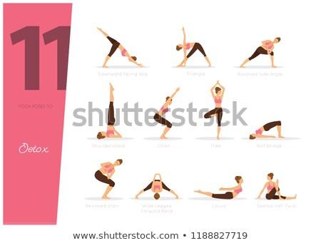 Jóga illusztráció detoxikáló test fitnessz háttér Stock fotó © anastasiya_popov