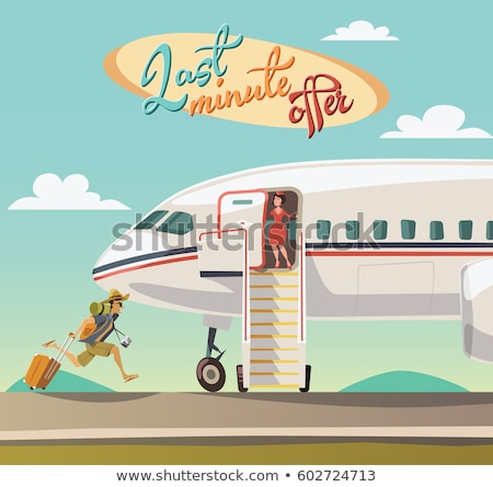 woman with camera and backpack traveling by plane Stock photo © dolgachov