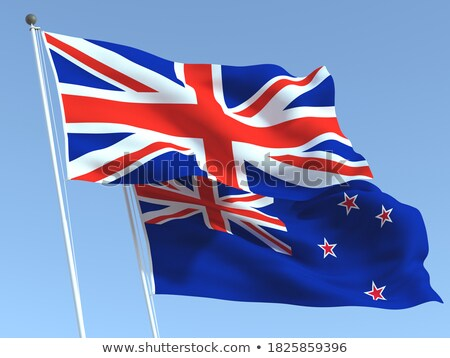 Two waving flags of UK and new zealand Stock photo © MikhailMishchenko