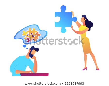 Businessman trying to solve puzzle and woman with necessary piece vector illustration. Stock photo © RAStudio