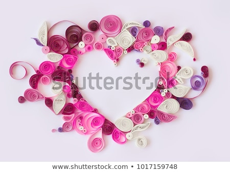 Banner with hearts and paper flowers Stock photo © Artspace