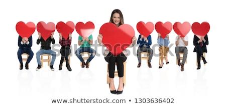 若い女の子 · バレンタイン · 愛 · 中心 · 赤 - ストックフォト © feedough