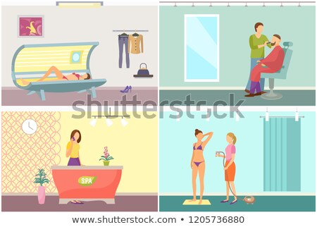 Barber Shop for Men Beards and Tanning Vector Stock photo © robuart
