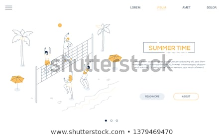 Summer time - modern colorful isometric vector illustration Stock photo © Decorwithme