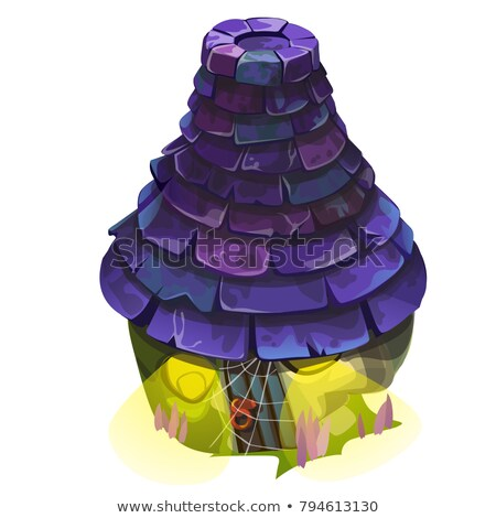 Fairy house with a blue shingle roof with glowing windows isolated on white background. Vector close Stock photo © Lady-Luck
