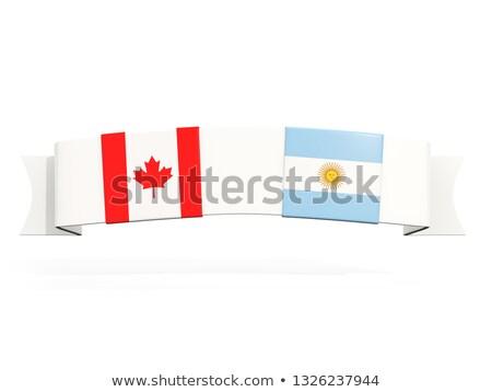 Banner dos cuadrados banderas Canadá Argentina Foto stock © MikhailMishchenko