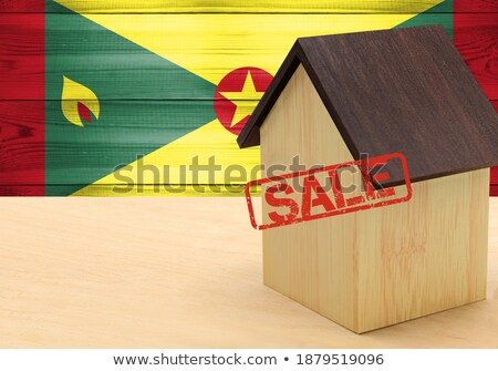 Stockfoto: Huis · vlag · Grenada · rij · witte · huizen