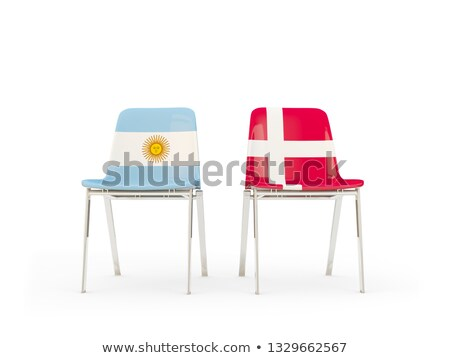 Twee stoelen vlaggen Argentinië Denemarken geïsoleerd Stockfoto © MikhailMishchenko