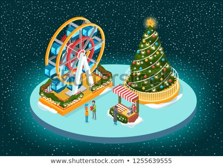 christmas image with tree and ferris wheel vector stock photo © robuart