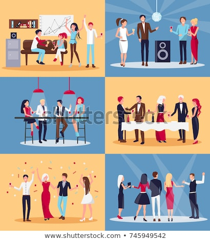 Work People Corporate Party in Disco Club Vector Stock photo © robuart