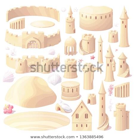 icono · playa · castillo · de · arena · vector · aislado · blanco - foto stock © vetrakori