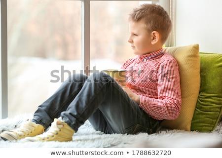 Portret godny podziwu cute chłopca pitnej Zdjęcia stock © galitskaya