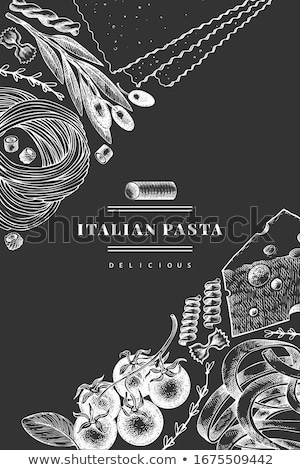 Comida italiana menú restaurante de comida aceitunas pasta ajo Foto stock © netkov1